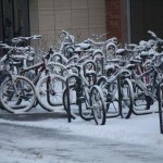 The bikes outside the dorm. I doubt anyone will be moving them any time soon.