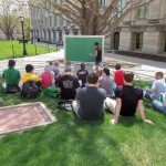Outdoor class on the Pentacrest :)