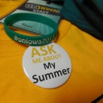 Close-up of the wristband with the #. We're trying to get #FeelTheTeal to trend on Twitter, so if you want to help.... :) This is also a close-up of the ask me button that I talked about earlier in the post.