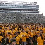 A sea of first years on Kinnick field