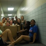 One of our floor bonding moments :) Sophomores and freshmen having fun with a cardboard box