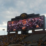 The football players in the tunnel. The new screens in Kinnick are pretty cool too.