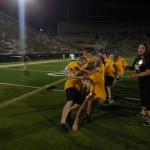 Tug-of-war on Kinnick field.