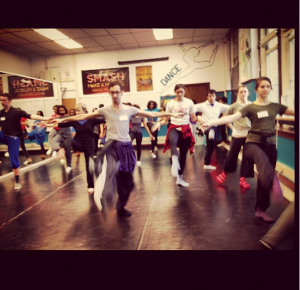 Teaching a modern class to the high school dancers